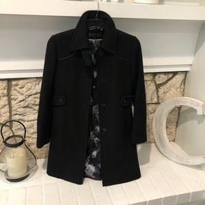 Via Spiga black mid length wool blend coat EUC
